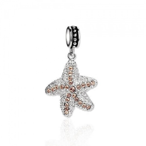 White Gold Plated Sterling Silver Starfish Charm