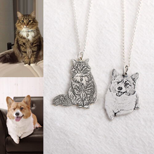 Personalized sterling silver pet memorial photo necklace aloadofball