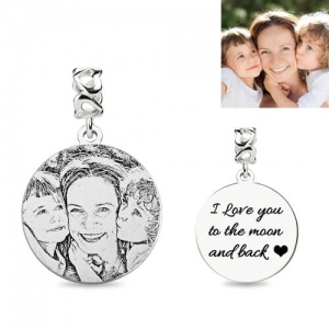 Custom Circle Sterling Silver Engravable Photo Charm