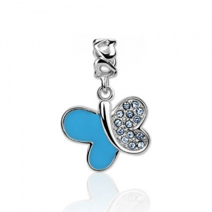 Ingenious Blue Swarovski Crystal Butterfly Charm Sterling Silver