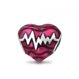 Endearing Sterling Silver 925 Reddish-pink Heartbeat Charm