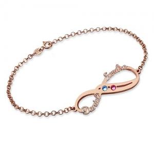 Bracelet Infini-2 Prénoms et Pierres de Naissance-Plaqué Or Rose