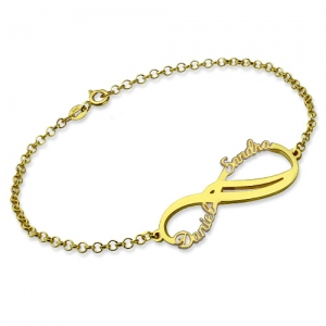 Charming Personalized Infinity 2 Names Bracelet Gold Plated Silver
