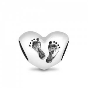 Baby Steps Footprint Heart Charm Sterling Silver 925
