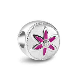 Sterling Silver Flower Bead Adorned with Shining Crystal