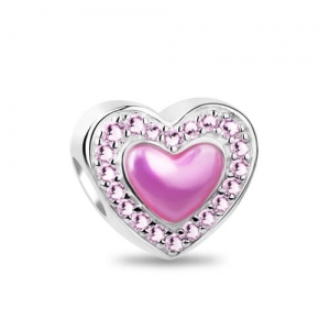 Silver 'Always Love' Light Pink Cubic Zirconia Heart Charm