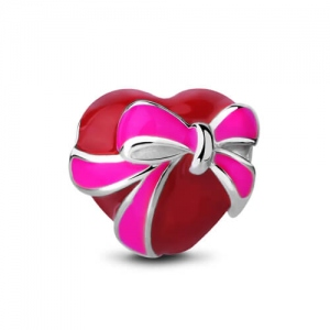 Bowknot Red Heart Bead Sterling Silver