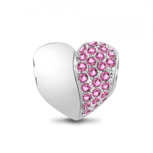 Stunning Half Heart Decorated with Pink Swarovski Crystals Heart Charm