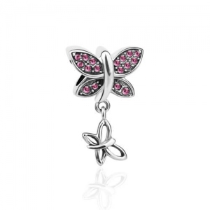 Silver 'Fly With Me' Butterfly Charm with Fuchsia Cubic Zirconia