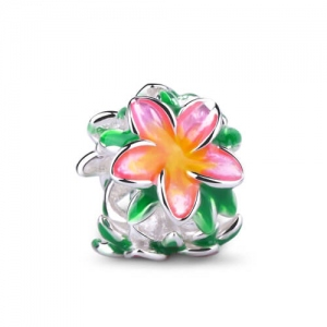 Silver Flower Charm Adorned with Soft Enamel Blossom