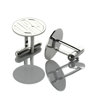 Engraved Block Monogram Disc Cufflinks Sterling Silver