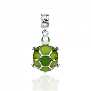 Sterling Silver Turtle Charm with Green Crystal