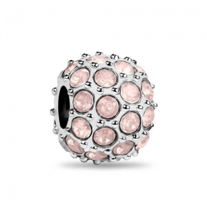 Silver Good Luck Bead with Luminous Pink Crystals