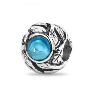 Sterling Silber Blau Kristall Blätter Perle