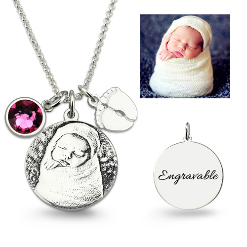 Birthstone Photo Engraved Necklace With Baby Feet Sterling