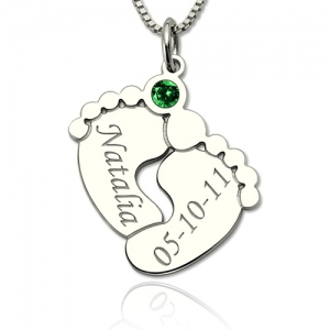 Eye-catching Silver Engraved Baby Feet Necklace with Personalized Birthstone