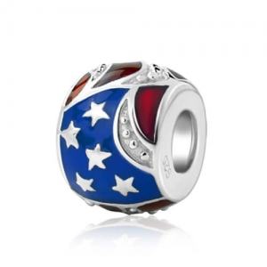 Sterling Silver American Flag Bead