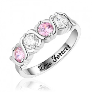 Custom Hugs and Kisses Birthstones Silver Ring