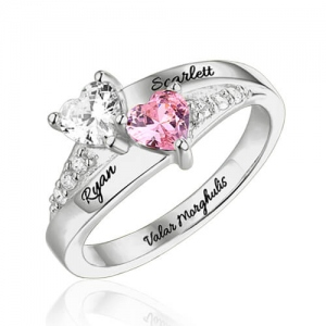 Engraved Double Heart Birthstone Ring In Sterling Silver