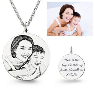 Silver Sterling / Stainless Steel Noble Personalized Photo Engraved Necklace