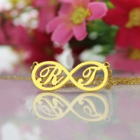 Infinity Necklace with Two Initial Gold Plated 925 Silver