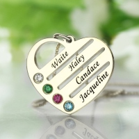Personalized Heart Pendant Necklace with 1-4 Names & Birthstones