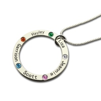Personalized Circle of Life Necklace Engraved Birthstone