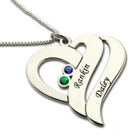 Top quality Heart Necklace for Her with 2 Names & Birthstones