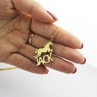Kids Name Necklace with Horse Gold Over