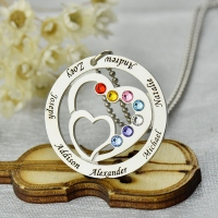 Mom's Heart in Heart Necklace with Kids Names 60% Off
