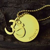 Om Yoga Name Pendant Necklace 18k Gold Plated