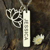 Yoga Necklace with Lotus Flower & Engraved Name Bar