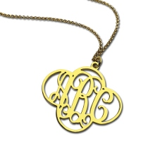 Personalized Cut Out Clover Monogram Necklace 18K Gold Plated
