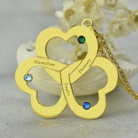 Birthstone Triple Heart 3 Names Necklace Engraved in Gold