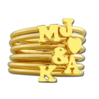 Personalized Stackable Ring with Initials 18k Gold Plated