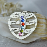 Mom's Necklace With 6 Kids Name & Birthstone In Sterling Silver
