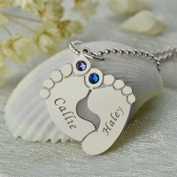 Personalized Baby Feet Name Necklace with Birthstone Silver