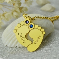 Birthstone Baby Feet Charm Pendant 18k Gold Plated