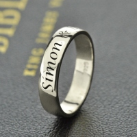 Personalized Anniversary Ring Sterling Silver Engraved Names
