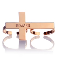 Personalized Two-finger Cross Ring with Name Rose Gold