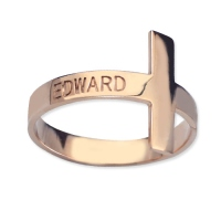 Custom Engraved Name Cross Ring Rose Gold Plated 925 Silver