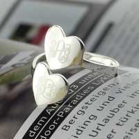 Custom Made Two Hearts Monogram Initial Ring Silver