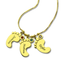 Lovely Mother's Pendant Baby Feet Names Necklace 18k Gold Plated