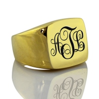 Classic Custom 18K Gold Plated Monogram Signet Ring