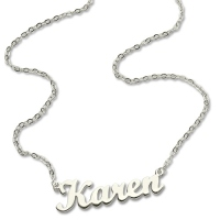 Solid White Gold Karen Style Name Necklace