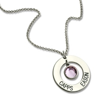 Personalized Circle Name Pendant With Birthstone Silver