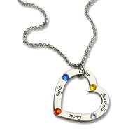 Birthstone Heart Name Necklace