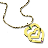 Gold Vertical Double Heart Necklace