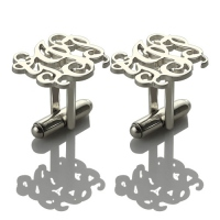 silver monogram cufflinks