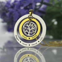 Sweet Circle Family Tree with Family Member's Names Necklace
